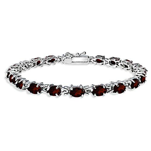 Sterling Silver Polished Garnet 6x4mm Oval-cut Link Tennis Bracelet