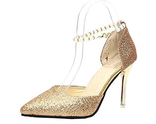 Materials Closed Heels High Blend Toe Women Buckle Gold Solid VogueZone009 Sandals IT4EqR