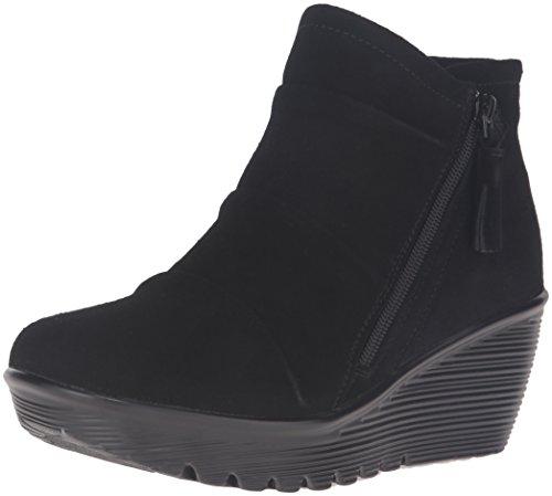 Skechers Womens Parallel-Triple Threat Ankle Bootie Black Suede
