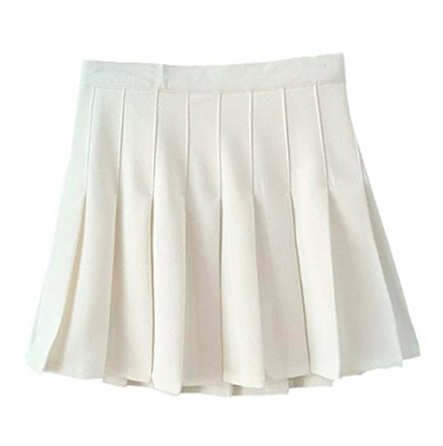 Women School Uniforms plaid Pleated Mini Skirt,4,White