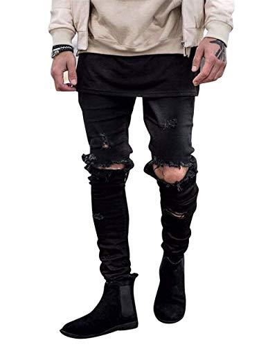 Pantaloni Jeans Distrutto Casual Vintage Da Nero Slim Ginocchio Uomo Skinny Pantalone Fit Strappati Denim 6WRRvqcU