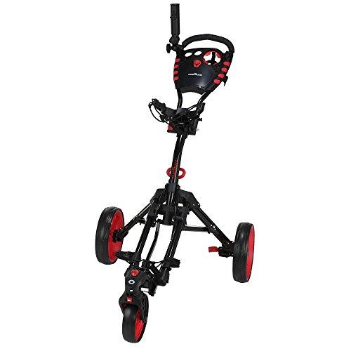 Caddymatic Golf 360° SwivelEase 3 Wheel Folding Golf Cart Black/Red by Caddymatic (Image #1)
