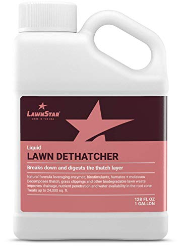 LawnStar Liquid Lawn Dethatcher (1 GAL) - Easy Alternative to Dethatch Rake & Mower - Digests Harmful Thatch Layer - Pair with Liquid Aerator - American Made