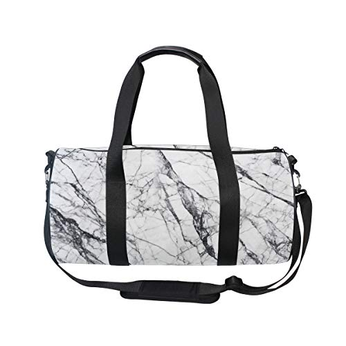 Luxury White Marble Women's Travel Gym Sports Duffels Bag Fi