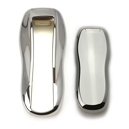 iJDMTOY Chrome Finish Chrome Silver TPU Key Fob Protective Cover Case For Porsche Cayenne Panamera Macan Cayman Boxster 718 911 Carrera, etc ()
