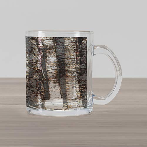 (Lunarable Grunge Glass Mug, Murky Tree Trunks Background with Messy Old Oak Woodland Style Graphic Print, Printed Clear Glass Coffee Mug Cup for Beverages Water Tea Drinks, Dark Brown White)