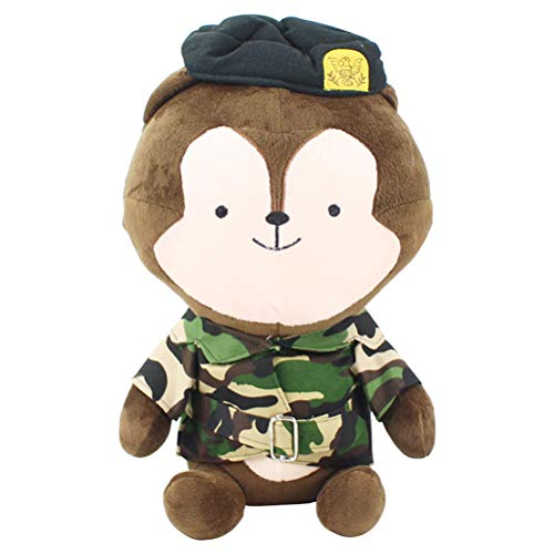 LQT Ltd Top Stuffed Animal Korea Drama Descendants of The Sun White Rabbit Brown Wolf in Uniform Soft Plush Toy Animals SongJoongKi SongHyeKyo 40CM