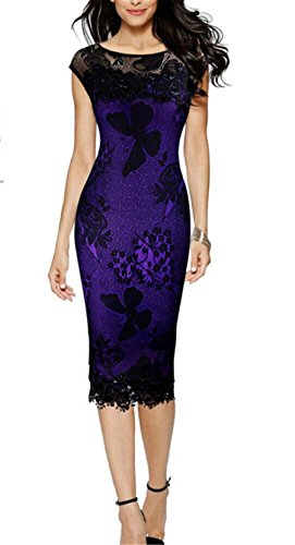 T-bags Womens Butterfly Dress - Wiipu Women's Exquisite Butterfly Lace Business Party Pencil Dresses(J1022)-Small Purple