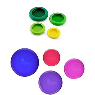 Farberware Food Huggers Reusable Silicone Food Savers, Set of 8, Berry and Green