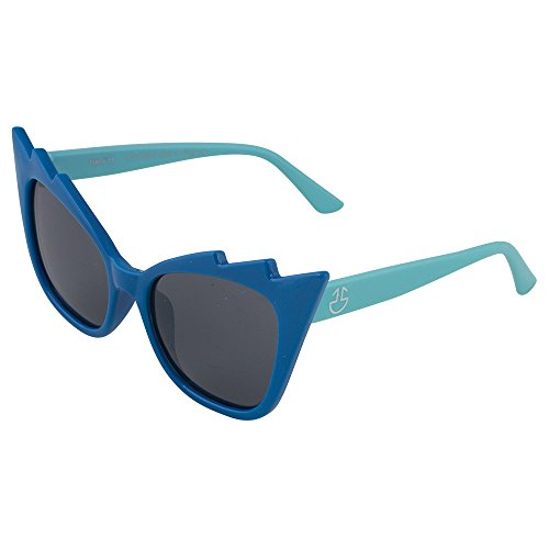 Kids Bendable Sunglasses-100% UV Protection and Polarized Lenses (Blue Frame & Light Blue Temple #117, Smoke)