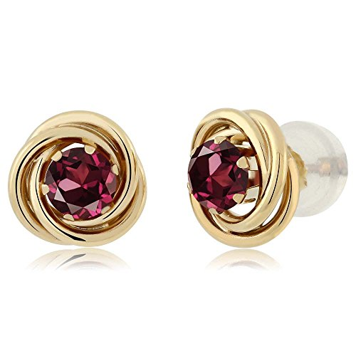 Rhodolite Yellow Earrings - 0.74 Ct Round 4mm Red Rhodolite Garnet 14K Yellow Gold Stud Earrings