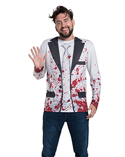 Faux Real Men's Halloween 3D Photo-Realistic Long Sleeve T-Shirt, Bloody Suit,