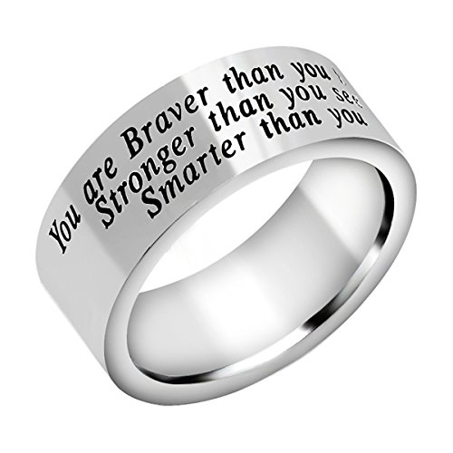 AGR8T Mens Ring You are Braver Stronger Smarter Than You Think Stainless Steel Charm Jewelry (6)