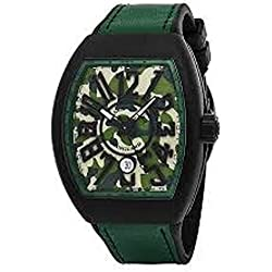 Franck Muller Vanguard Mens Automatic Date Green Camouflage Face Green Rubber Strap Watch V 45 SC DT CAMOUFLAGE TTNRMC.VE