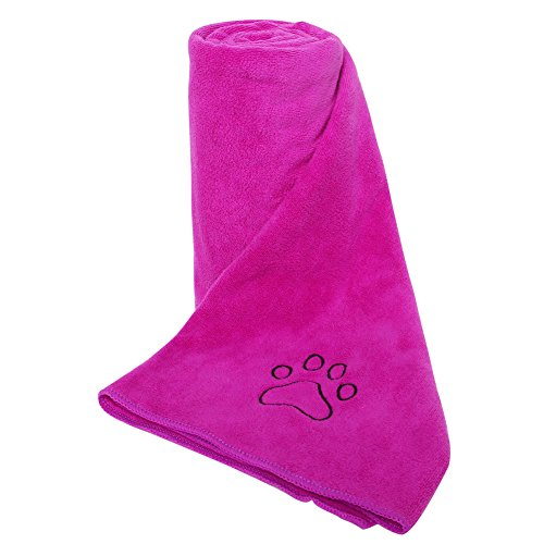 AMOFY Microfiber Pet Bath Towel with Embroidered Paw, Ultra-Absorbent,Washable, Soft and Comfortable for Small, Medium, Large Dogs and Cats 39
