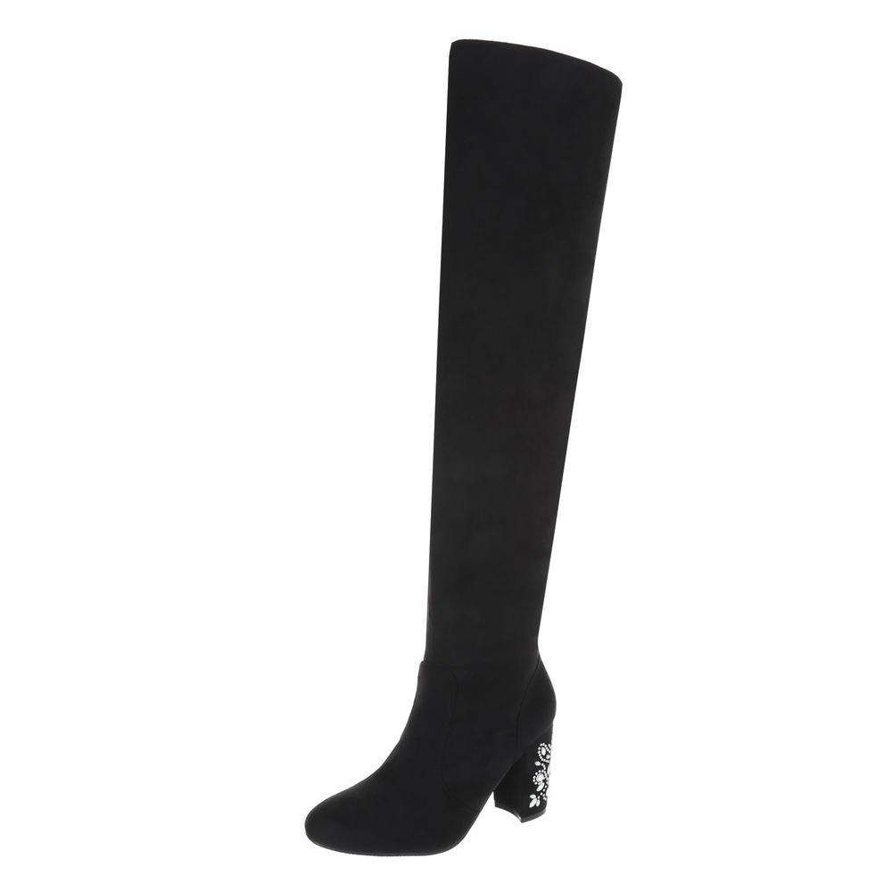 Ital-Design Overknees Damenschuhe Overknees Pump High Heels Reißverschluss Stiefel  36 EU|Schwarz