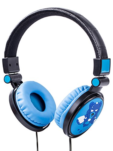 WESONICS Over-Ear Headphones Stereo Wired Computer Headset with Built-in Mic Comfortable Leather Cellphones Earphones for Kids (Blue-Bear) …