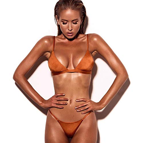 Dressin Women's Solid Swimsuit Solid Color Bikini Sets Push Up Bra and Side Rope Thong Bathing Swimwear Beachwear Orange