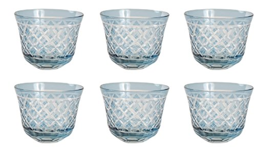 Home Decoration Accessories Light Blue Color Glass Votive Holder with Cross Hatch Design Set of 6
