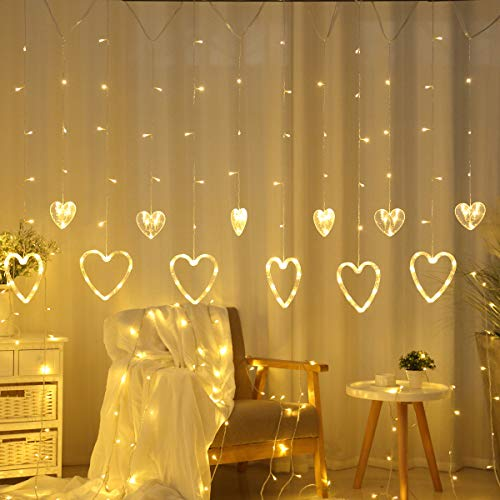 Domoos 138 LED String Lights, Love Heart Curtain String Lights with 8 Flashing Modes Decoration for Wedding Party Home Garden Bedroom Outdoor Indoor Wall Window Christmas -