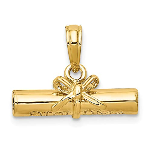 14k Yellow Gold Diploma Pendant Charm Necklace Special Day Graduation Fine Jewelry Gifts For Women For Her ()
