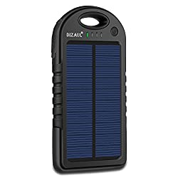 Solar Charger,dizaul 5000mah Portable Solar Power Bank Waterproofshockproofdustproof Dual Usb Battery Bank For Cell Phone,iphone,samsung,android Phones,windows Phones,gopro Camera,gps & More