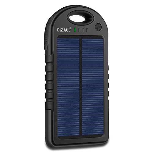 Solar Charger, Dizaul 5000mAh Portable Solar Power Bank Waterproof/Shockproof/Dustproof Dual USB Battery Bank for Cell Phone, Samsung, Android Phones, Windows Phones, GoPro Camera, GPS and (Grain Triple Shock)