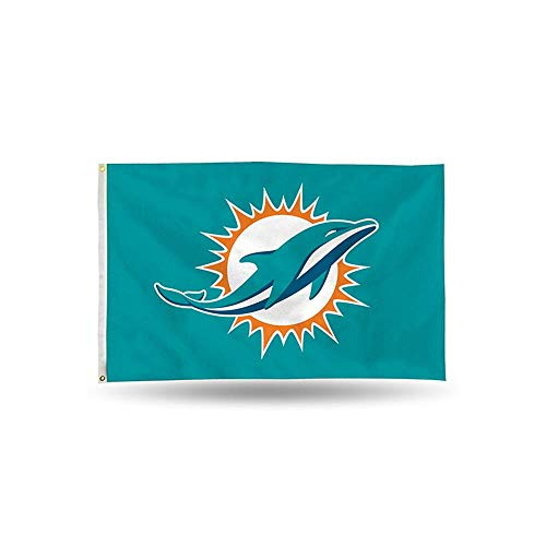 (Rico NFL Miami Dolphins 3-Foot by 5-Foot Single Sided Banner Flag with)