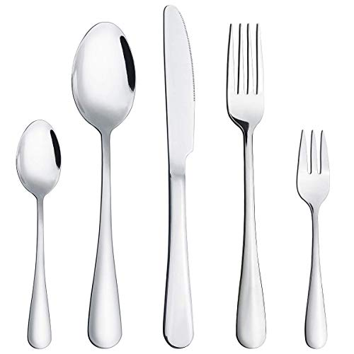 20 Piece Silverware Set, Stainless Steel Flatware set for 4 by Hippih, Mirror Polished, Dishwasher Safe