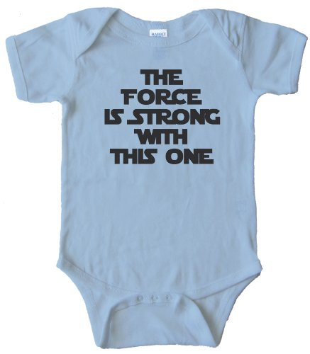 THE FORCE IS STRONG WITH THIS ONE - - BABY ONESIE - Light Blue (24 MONTH) (Force Lite)