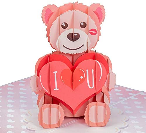 "Paper Love I Love U Bear Valentines Day Pop Up Card, Handmade three-D Popup Greeting Cards for Valentine's Day, Wedding, Anniversary, Love, Romance, All Occasion | 5"" x 7"" When Closed"