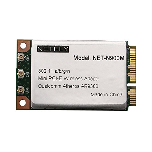 NETELY Wireless N 900Mbps (2.4GHz 450Mbps and 5GHz 450Mbps) 3T/3R 3-Stream MINO Full Size Mini PCI Express(PCI-E) Card for Laptop or Industrial Device-Qualcomm Atheros (Qualcomm Antenna Adapters)