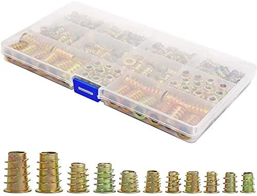 Wood Insert Assortment Tool Kit Binchil Threaded Inserts Nuts 165 PCS M4//M5//M6//M8 Furniture Screw Inserts Bolt Fastener