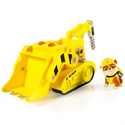 Paw Patrol Rubble's Lights and Sounds Construction Truck Vehículo con figura