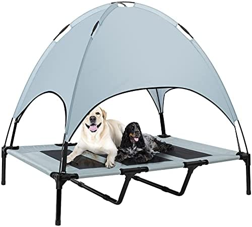 Niubya Outdoor Dog Bed with Canopy, Elevated...