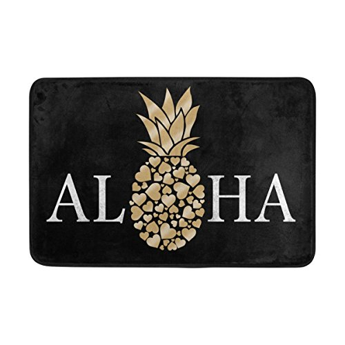 Pineapple Mat - QQMARKET Doormats Non Slip Washable Door Mat,Aloha Pineapple with Black Indoor Outdoor Entrance Floor Mats,23.6 x 15.7 inch