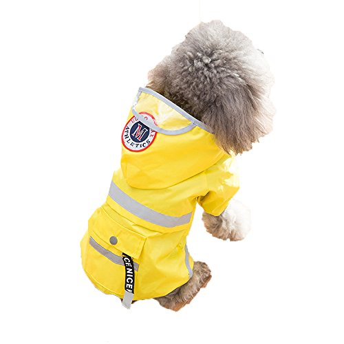 Spring Fever Pet Dog Waterproof Outdoor Pocket Hooded Raincoat Reflective Rain Jacket Yellow S by Spring Fever
