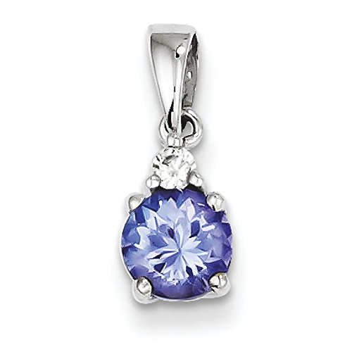 Or blanc 14carats Diamant Tanzanite Pendentif
