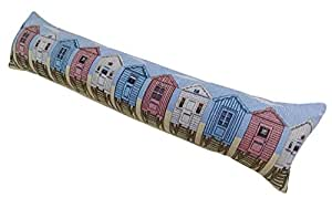"""LUXURY THICK COTTON TAPESTRY BLUE SEASIDE OCEAN BEACH HUTS AIR DRAUGHT GUARD EXCLUDER 22 X 90CM - 8"""" X 35"""""""
