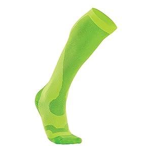 2XU Women's Compression Performance Run Socks, Fluro Green/Green, Medium