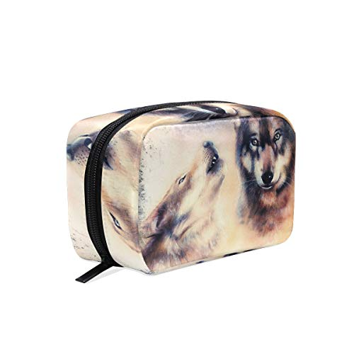 Makeup Bag Wolf Howling Abstract Painting Cosmetic Pouch -