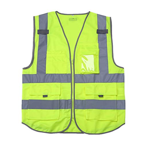 - iEFiEL Unisex High Visibility Reflective Stripes Safety Vest Jacket with Zip Pocket Yellow-Green M