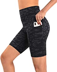 Promover Yoga Shorts High Waist for Women with Pockets Non See-Through Workout Running Pants
