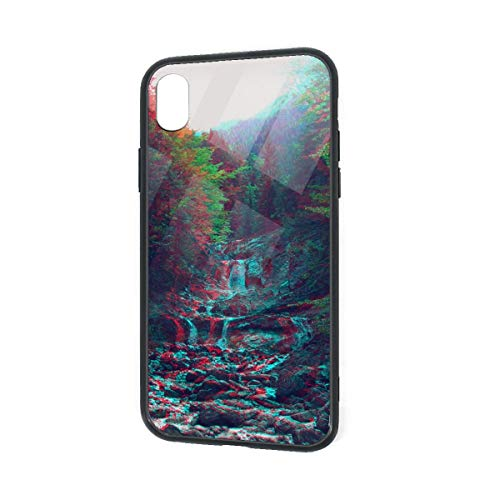 C-CASE Anaglyph Mountain Green Nature Holographic Retro Minimalist Luxury Durable Waterproof TPU Inner Shockproof Glass IPhoneXR Case