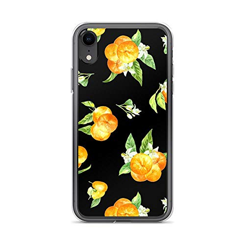 iPhone XR Pure Clear Case Cases Cover Oranges On Black - Fruit Pattern TPU Anti Slip Edge Hard Polycarbonate Back Compatible ()