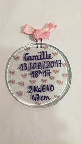 Boule de naissance- grand modèle - fille - bébé cadeau - naissance - baptême - fête prénatale - rose - babyshower -verre fusionné
