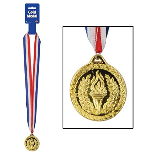 Olympic Torch Costume (Achievement Torch Medal - Gold With Neck Ribbon)