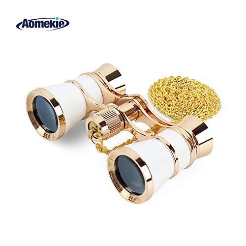 Aomekie Opera Glasses Binoculars 3X25 Theater Glasses Mini Binocular Compact with Chain for Adults Women Kids  in Musical Concert (White)