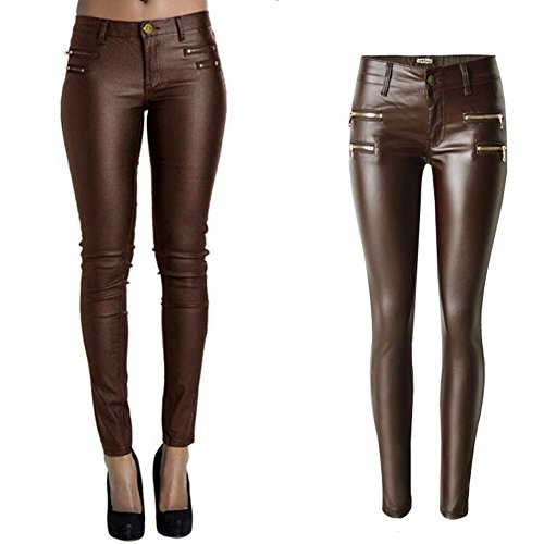 PU Leather Pants for Women Sexy Tight Stretchy Rider Leggings Coffee US (Brown Leather Pants)