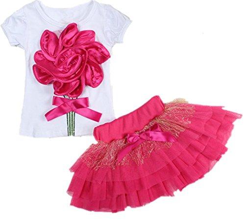Dream-Store Little Girls Toddler Kids Big Flower White T-Shirt + Lace Layered Skirt Dress (100cm, Red)